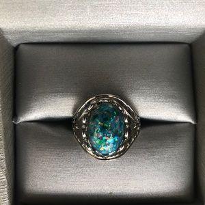 S925 Imitation Blue Opal Ring